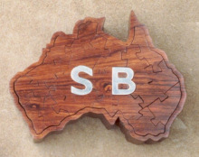 115. Australia in Honduras Rosewood<br/>with silver initials<br/>160 x 120mm
